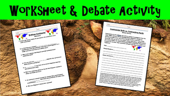 Drifting Continents No Prep Lesson w/ Power Point, Worksheet and Debate Activity