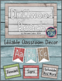 Driftwood Beach Editable Classroom Decor Set ~ Distressed wood class theme