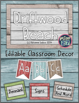 Driftwood Beach Classroom Decor Set ~ Distressed wood class theme