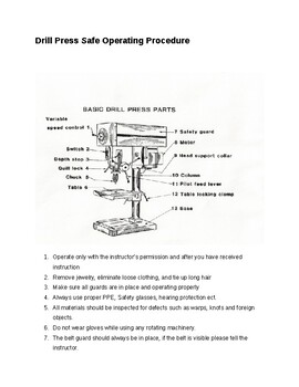 Drill Press Safe Operating Procedures.
