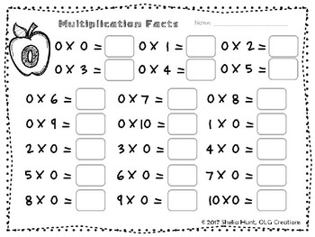 Drill Sheets for Multiplication Facts