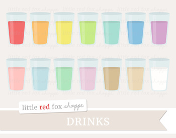 Drink Clipart; Lemonade, Water, Juice, Milk