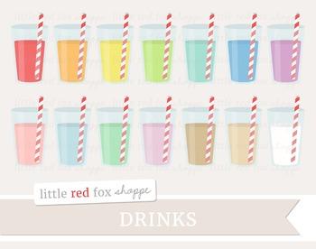 Drink Clipart; Lemonade, Water, Juice, Milk