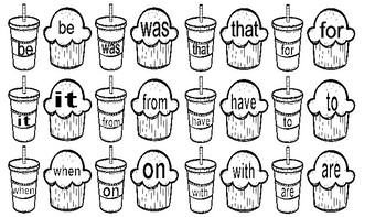 Drink Cup and Muffin Matching- Fry Words