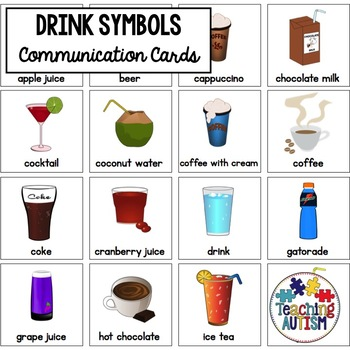 Drink Symbol Support Cards - Autism