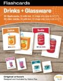 Drinks + Glassware Flashcards / Set of 15 / Printable