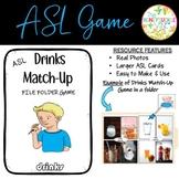 ASL Drinks Match-Up File Folder Game