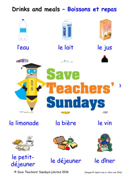 Drinks and Meals in French Worksheets, Games, Activities and Flash Cards
