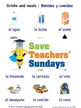 Drinks and Meals in Spanish Worksheets, Games, Activities and Flash Cards