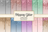 Dripping Glitter Digital Paper, frosting backgrounds