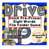 Drive - A Sight Word File Folder Game, Dolch Pre-Primer Sight Words Version