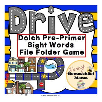 Drive - A Sight Word File Folder Game, Dolch Pre-Primer Si