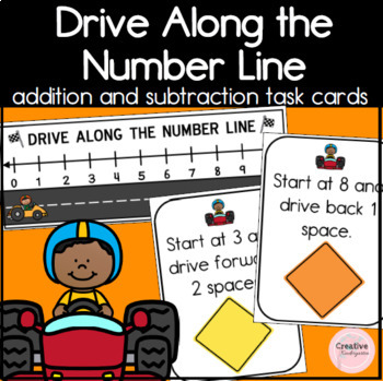 Drive Along the Number Line Addition and Subtraction Task Cards for Kindergarten
