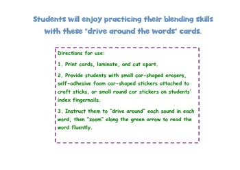 Drive Around the Words Blending Cards