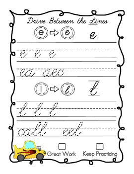 Drive Between the Lines Cursive Practice Pack