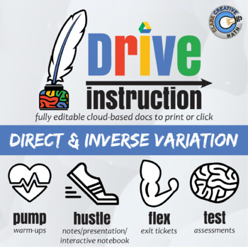 Drive Instruction - Direct & Inverse Variation - EDITABLE Instruction