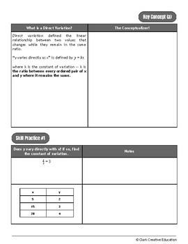 Drive Instruction - Direct & Inverse Variation - EDITABLE Slides, Notes & Tests+