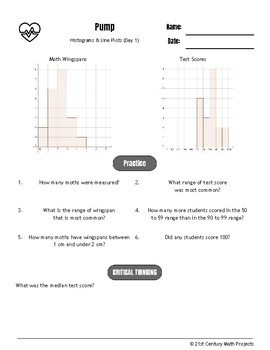 Drive Instruction - Histogram & Line Plots - EDITABLE Warm-Ups & Exit Tickets