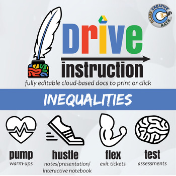 Drive Instruction - Inequalities - EDITABLE Slides, Notes & Tests +++