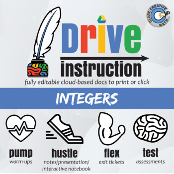 Drive Instruction - Integers - EDITABLE Warm-Ups, Notes, Slides & Test