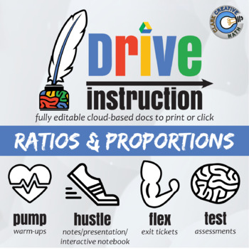 Drive Instruction - Ratio & Proportion - EDITABLE Warm-Ups & Exit Tickets