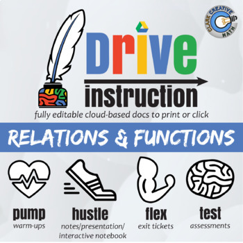 Drive Instruction - Relations & Functions - EDITABLE Slides, Notes & Tests +++