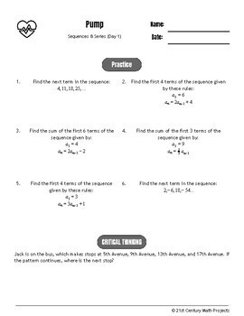 Drive Instruction - Sequences & Series - EDITABLE Warm-Ups & Exit Tickets