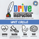 Drive Instruction - Unit Circle - EDITABLE Warm-Ups / Slides / Notes / Test +++