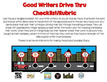 Drive Thru Good Writer Checklist *Freebie*