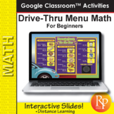 Drive Thru Menu Math for Beginners | Google Classroom Slides Distance Learning