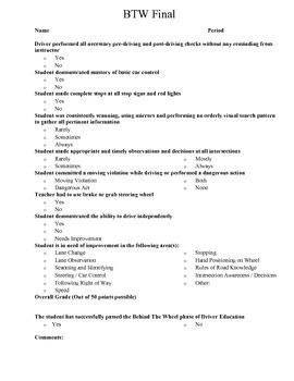 Driver Education BTW Grading Rubrics - 4 Driver Levels w/ FINAL EXAM