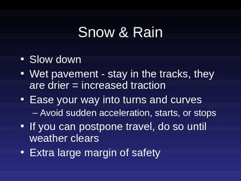 Driver Education PowerPoint **Light & Weather Conditions** for Mac