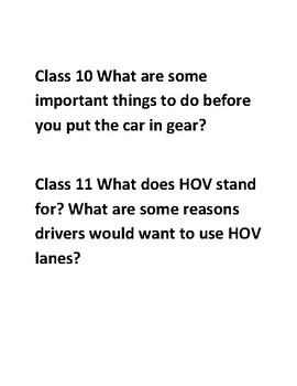 45 Driver's Education Bell Ringers/Writing Prompts