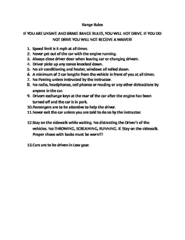 Driver's Education Range Rules