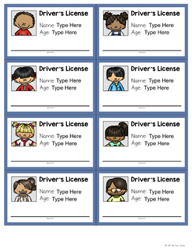 Driver's Licenses for Dramatic Play - EDITABLE!