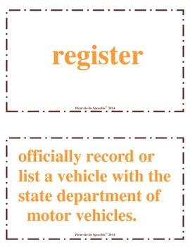 Drivers Education Bulletin Board Vocabulary