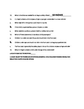 Drivers Education CA - 2nd lesson Occupant protection answersheet