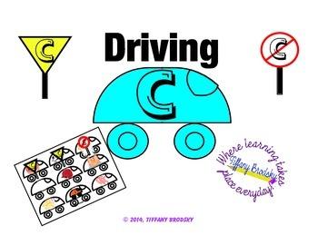 Driving C File Folder Game or Literacy Center for Letter C, hard /k/ Sound