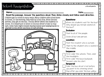 Following Directions Worksheets | Back to School Speech Therapy