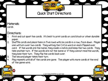 Driving Home CVCe Words:  LOW PREP Card Game