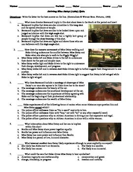 Driving Miss Daisy Film (1989) 15-Question Multiple Choice Quiz