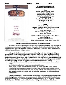 Driving Miss Daisy Film (1989) Study Guide Movie Packet