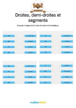 Droites, demi-droites et segments 2 -Relie chaque mot à son écriture