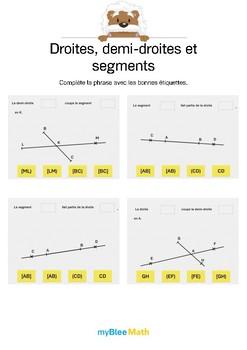 Droites, demi-droites et segments 3 -Complète avec les bon termes