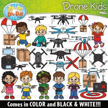 Drone Kids Clipart {Zip-A-Dee-Doo-Dah Designs}