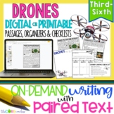 Drones Paired Texts: Writing On-Demand Opinion Argumentative Essay Editable