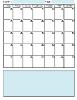 Drop Down Calendar Planner Template Any Month Any Year