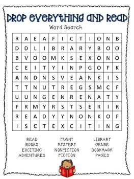 Drop Everything and Read (D.E.A.R.) Day - Word Search