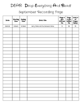 Drop Everything and Read Reading Log