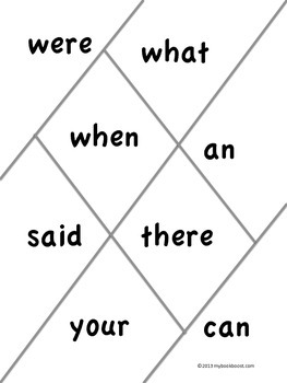 Sight Words Game Boards
